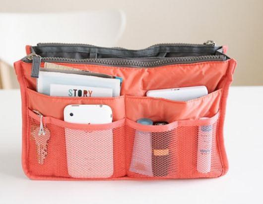 Wish Practical Dual Handbag Purse Nylon Dual Organizer Insert Cosmetic Storage Bag Black