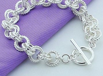 Picture of Womens 925 Sterling Silver Bracelet Silver Plated Fashion Jewelry Color Silver