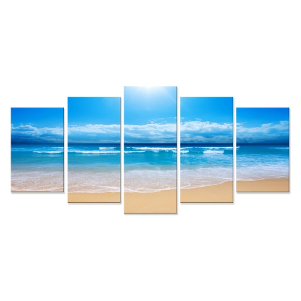 Wish | 5 Panel Wall Art Sun ocean Painting Pictures Print On Canvas The Picture For Home Modern Decoration piece (FrameNo)  sc 1 st  Wish & Wish | 5 Panel Wall Art Sun ocean Painting Pictures Print On Canvas ...