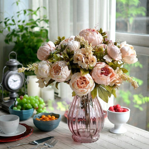 Picture of 1 Bouquet Artificial Peony Silk Flower Leaf For Home Party Wedding Decor 5 Heads