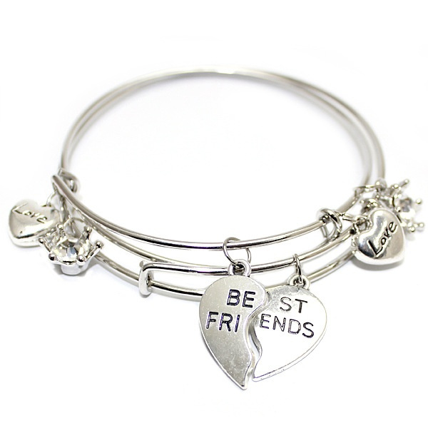 New 2pcs/Set Silver Plated Bangle Bracelets Broken Heart Parts Initial BEST  FRIENDS Bangles Share with Best Friends