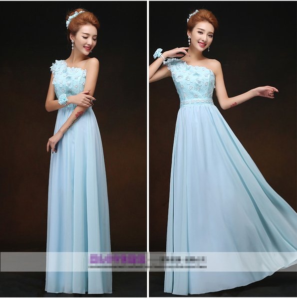 Wish Lake Blue Bridesmaid Dresses To Party Long Formal Dresses