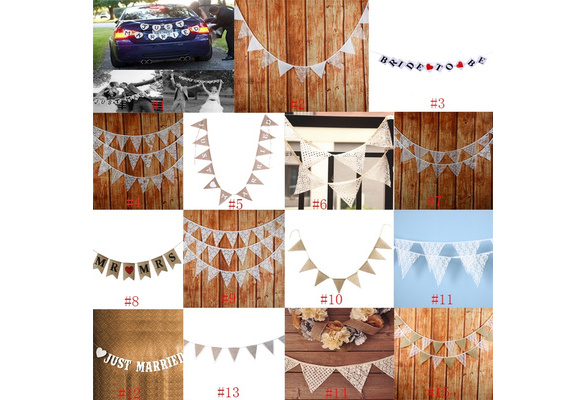 JUST MARRIED Wedding Banner Party Car Heart Decoration Bunting Garland Handmade