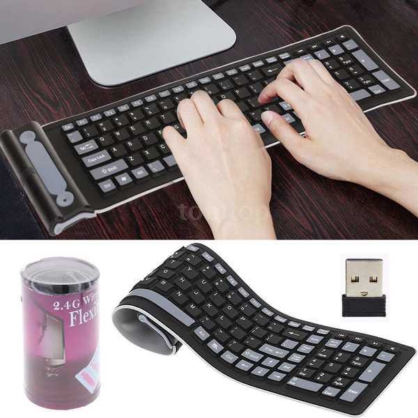 Picture of Mini Keypad 2.4 Portable Mini Flexible Roll Up Water Resistant Washable Soft Silicone Wireless Keyboard With Usb Receiver For Pc Tablet Laptop Computer Color Black Gray