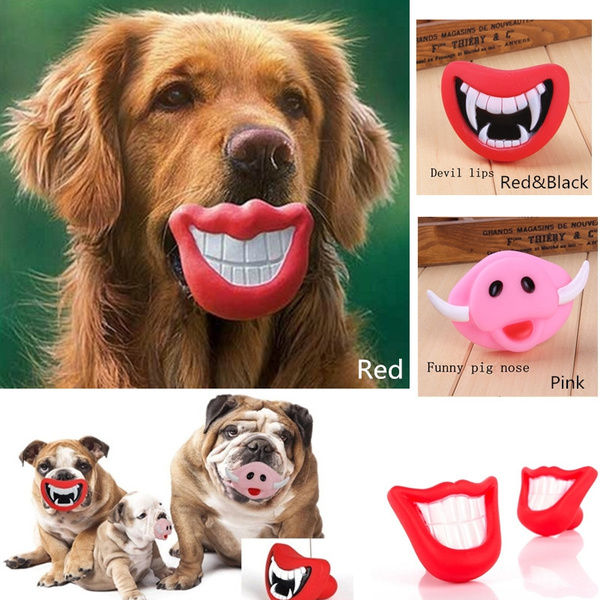 Creative Lovely Red Pets Dog Plastic Lips Voice Squeaky Sounds Amusing Toys