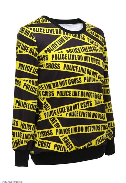 ee6e8c751c Fashion Blusas Moletons Feminino Police Line Intertwined Print ...