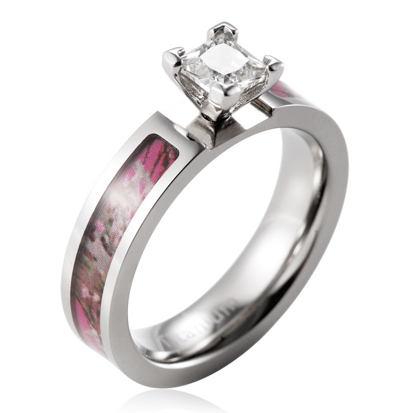 wish titanium 1ct aaa cz inlaid pink flower camo engagement ring camo wedding band - Pink Camo Wedding Ring