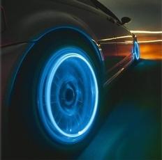 1 piece led Car's Neon Blue Strobe LED Tire Valve Caps Light