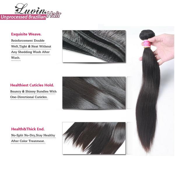 Wish Brazilian Virgin Hair Straight 08inch 1pc Lot 100 Human Hair