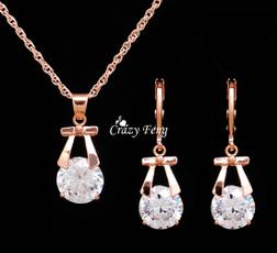 goldplated, Jewelry Set, pendantsnecklaceearring, Jewelry