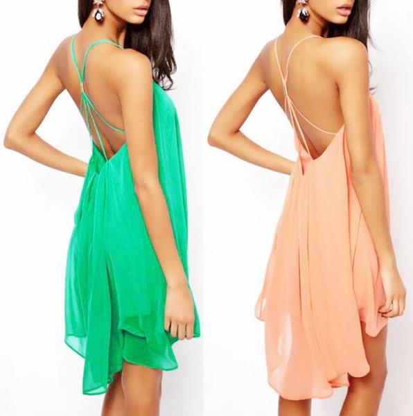 Picture of Women's Fashion Sexy Back Cross Straps Hollow Sleeveless Chiffon Dress Party Dress