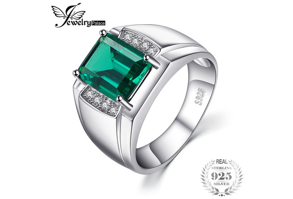 Jewelrypalace Men Luxury 2.7ct Created Nano Russian Emerald Anniversary Wedding Ring Genuine 925 Sterling Sliver