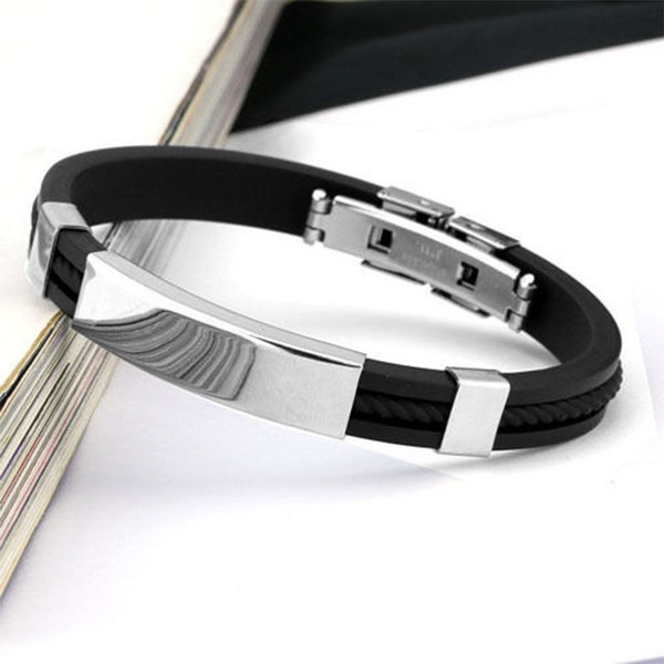 Wish Hot Fashion Men Black Jewelry Cuff Stainless Steel Cool Bracelet Bangles