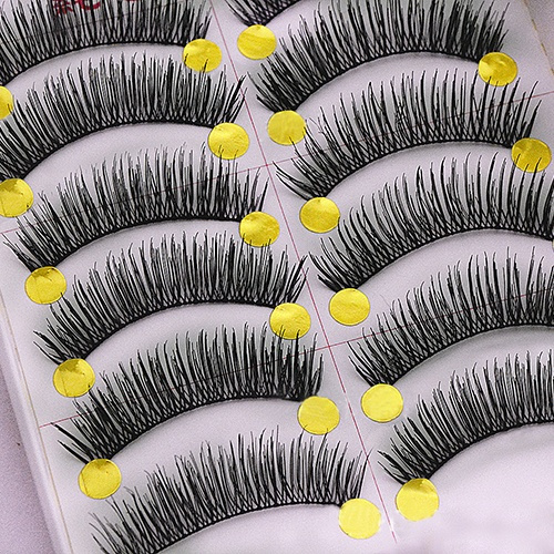 Picture of 11 Pairs Women's Fashion Cosmetic Tool Thick Cross Eye Lashes Extension Makeup Long False Eyelashes New Size 1 Color Black