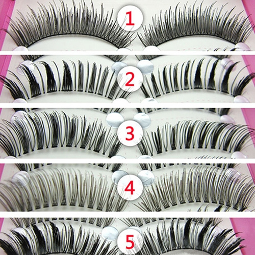 Picture of 5 Pairs Mix Lot Women's Fashion Cosmetic Tool Thick Cross Eye Lashes Extension Makeup Long False Eyelashes Hot Sale Size One Size Color Black