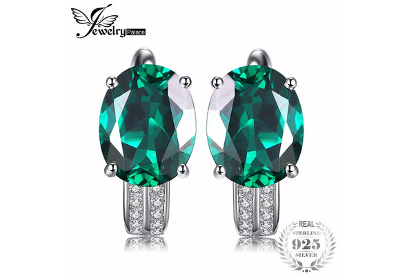 JewelryPalace Luxury 7.6ct Created Green Nano Russian Emerald 925 Sterling Silver Clip On Earrings