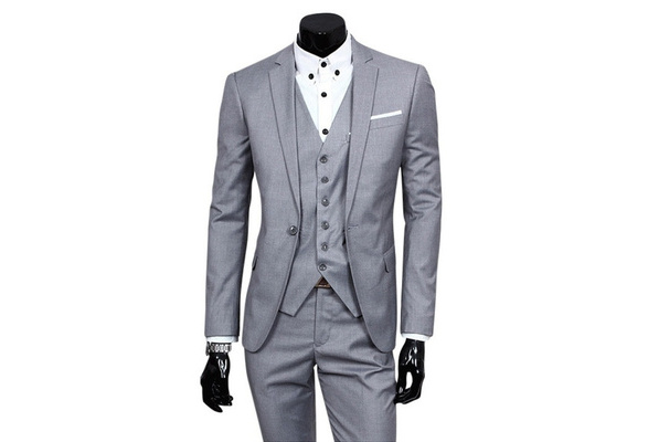 2017 Men New Fashion Plus Size Career Formal Wedding Groom Slim Two-piece Set Business Jacket And Pants Suits Not Include Vest Shirt