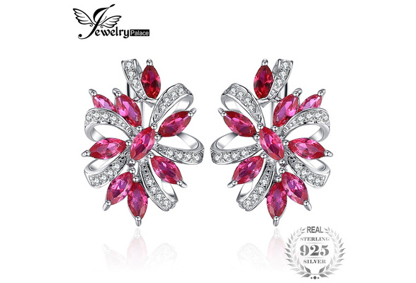 JewelryPalace Unique Design 2.1ct Created Red Ruby Clip On Earrings 925 Sterling Silver
