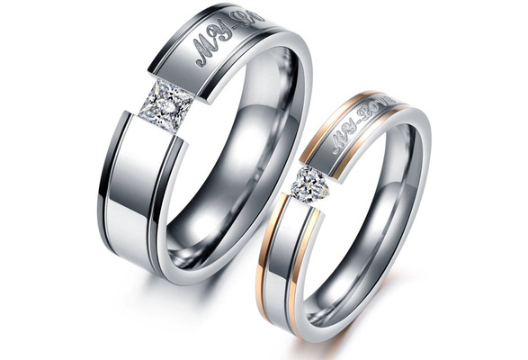 Fashion Gold Couple Stainless Steel Comfort Fit Wedding Bands Promise Ring,My love