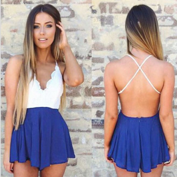 Picture of Women Girls Casual Crochet V-neck High Waist Backless Romper Shorts Jumpsuit Size M Color Blue
