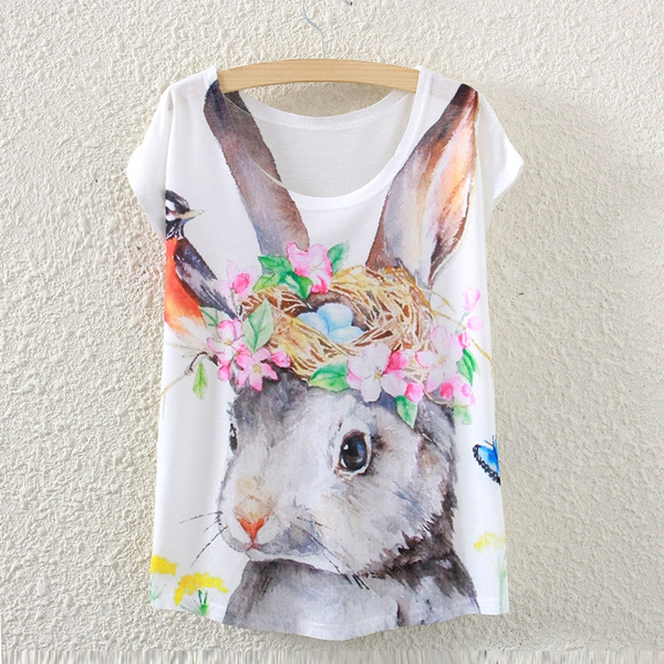 Picture of New Summer Girl Women Short Sleeve Rabbit Printed T Shirt Tee Tops Color White