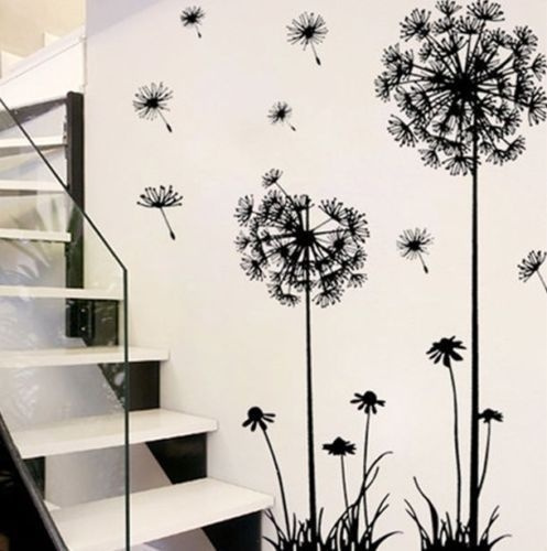 Picture of Fashion Diy Creative Dandelion Wall Art Decal Sticker Removable Mural Pvc Home Decor Size 70cm50cm Color Black