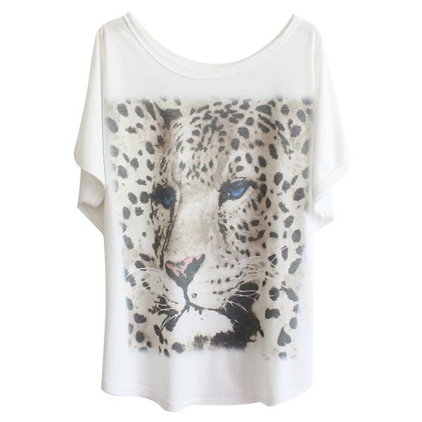 DesiderioTee Print White Leopard Donna estiva Drop Shirt Shoulder mIY7bv6gyf