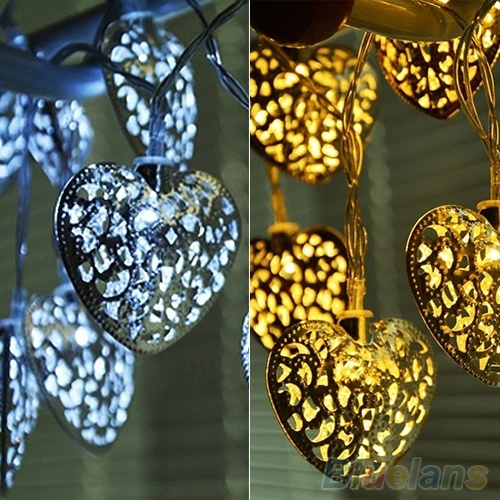 Picture of 20 Leds Filigree Love Heart Wedding Party Home Decoration Fairy String Lights