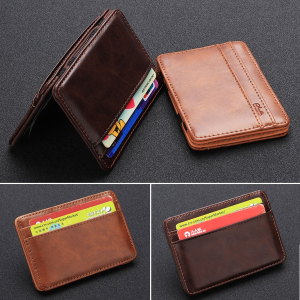 Picture of Fashion Magic Faux Leather Leather Men's Slim Mini Wallet Money Clip Id Card Holder Purse