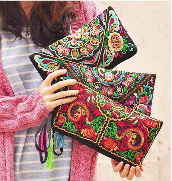 Picture of New Women Bag Handbag Purse National Retro Embroidered Phone Change Coin