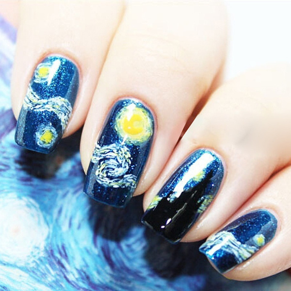 14pcs/Sheet Van Gogh Starry Night Romantic Nail Art Nail Stickers Nail Tools Gel Decals Makeup French Manicure