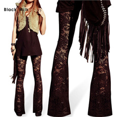 New Lady Leggings Lace Floral Hollow Flares Sexy Casual Elastic Women Pants Yoga Pants