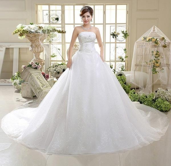 Wish Shanghai Story Beach Large Tail Wedding Dress Gauze Bandage Luxury Le Vestido De Noiva Sereia Gowns Hs585