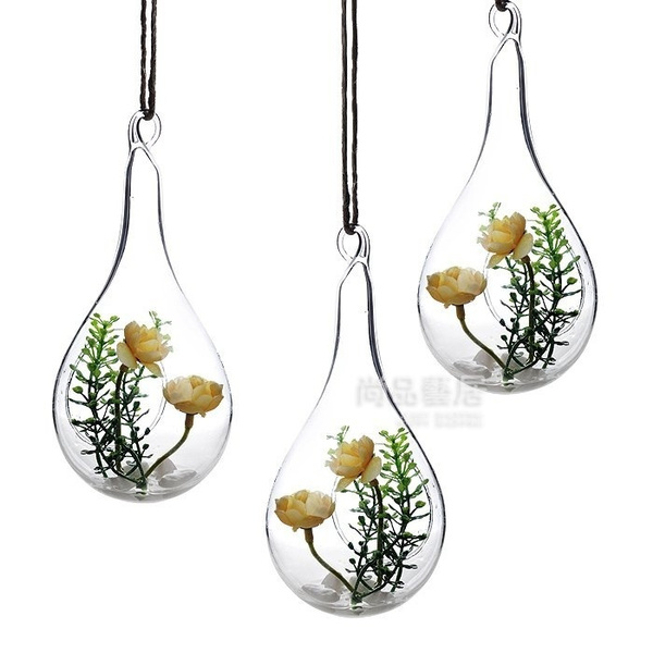 Wish Style Hanging Glass Vase Ceiling Drop Ball Water Shape Flower