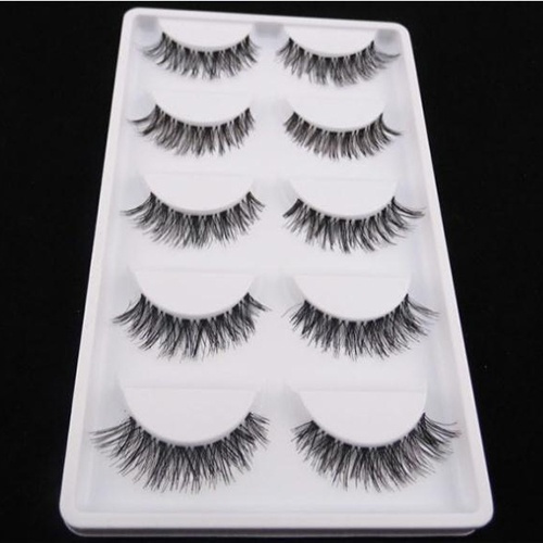 Picture of 5 Pairs Lady's Beauty Fashion Cosmetic Tool Thick Cross Eye Lashes Extension Makeup Long False Eyelashes Size One Size Color Black