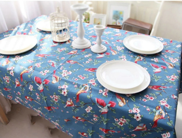 Wish | Cotton Tablecloth Blue Bird Printed Table Cover For Dinner Table  Table Cloths For Weddings Round Table Cloth Home Texitle