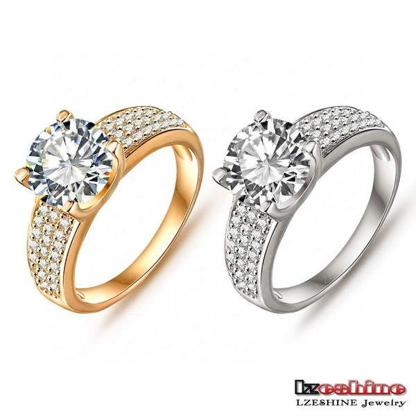 Picture of Lzeshine Brand Big Sale New Arrival Ring Best Gift Unisex Zirconal Ring 18k Gold/ Platinum Plated
