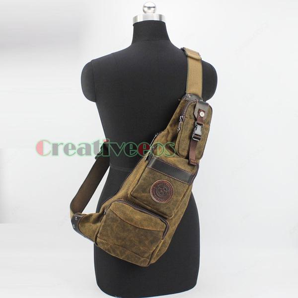 Men Canvas Bag Pack Travel Hiking Cross Body Messenger Shoulder Sling Chest