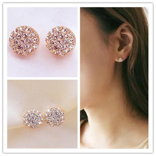 Picture of New Fashion Women Lady Elegant Circle Crystal Rhinestone Ear Stud Earrings