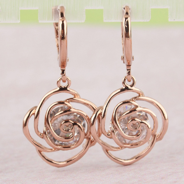 Picture of Fashion Women Rose Gold Plated Clear Zircon Crystal Rose Dangle Drop Earrings Jewelry
