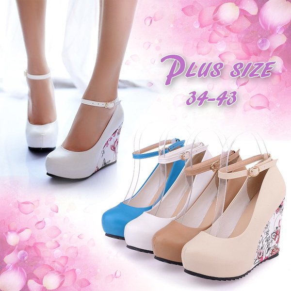 Picture of Ankle Strap High Wedges Platform Summer Pumps Casual Dress Elegant Flower Print Shoes