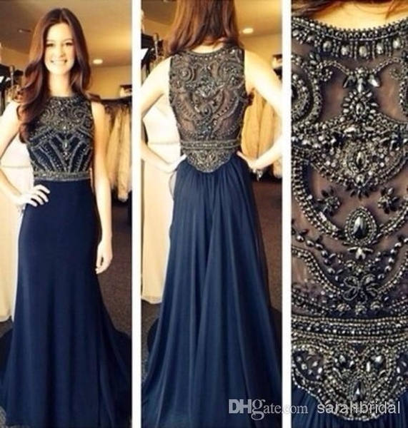 Wish Gorgeous Beaded Prom Dress Navy Blue Formal Evening Long Reception Sweet 16 Beautiful Wedding Guest