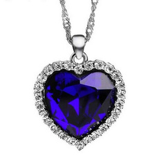 Women's Fashion, Heart, crystalrhinestonenecklace, Jewelry