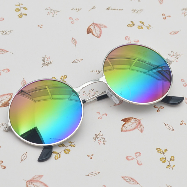 Picture of Unisex Women Men Mirror Lens Round Glasses Steampunk Sunglasses Vintage Retro