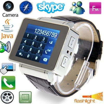 I8 Silver, JAVA / Compass / Torch / Bluetooth / FM / Skype / Facebook /  Yahoo / Touch Screen Watch Mobile phone, Single SIM Card, Quad Band: