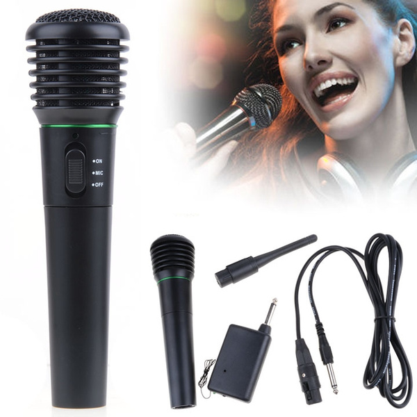 Picture of Wired Wireless 2 In 1 Cordless Handheld Microphone Mic For Karaoke Singing New Wishagoodwish Color Black