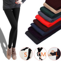 Fashion 8Colors Brushed Stretch Fleece Lined Thick Tights Warm Winter Pants Warm Leggings Black