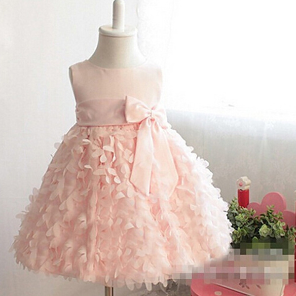 Wish Pretty Girls Clothes Petal Baby Easter Dress Bow Sash Little