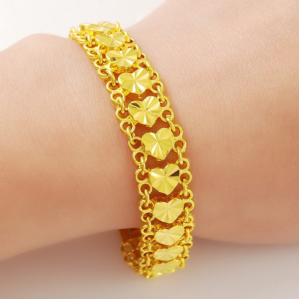 11mm 18cm Fashion Heart Design Beautiful Female Jewelry 24k Gold Bracelets Bangles For Women Soft Link Love Charm Head Bracelet