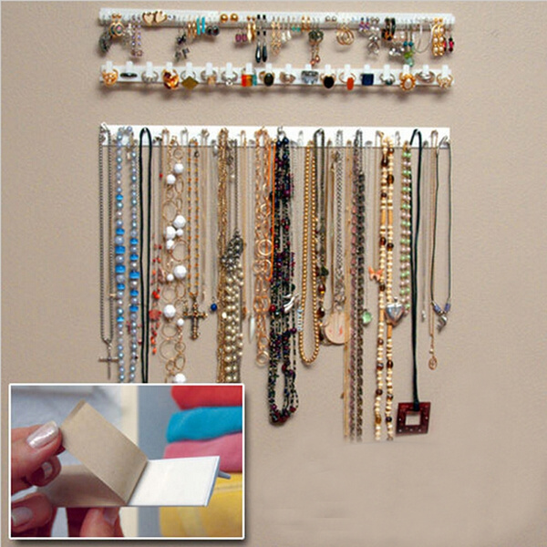 Picture of 9 In 1 Adhesive Paste Wall Hanging Storage Hooks Jewelry Display Organizer Necklace Hanger